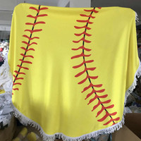 Wholesale Cloth Hand Towels - 150cm Baseball Softball Tapestry Beach Towel Round blanket with Tassel Fringing Beach Throw round Sports Yoga Mat Table Cloth