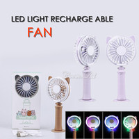 Wholesale electronics fan for sale - colorful mini led fan portable handfree large wind summer cooler cooling mute fans rechargeable led light fashion electronic fan with pack