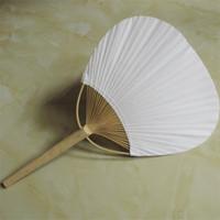 fan antique achat en gros de-Grand nombre fan de papier rond ventilateurs vides à deux faces avec cadre en bambou et poignée calligraphie peinture cadeaux de fête de mariage 3qx jjkk