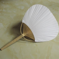 Wholesale art paper folding online - Large Number Paper Fan Round Two Sided Blank Fans With Bamboo Frame And Handle Calligraphy Painting Wedding Party Gifts qx jj