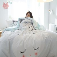 Wholesale light pink comforter set queen - Pastoral cartoon print bedding sets 100% Pure cotton comforter cover set bed sheet type 4pcs per set parure de lit adulte SP4216