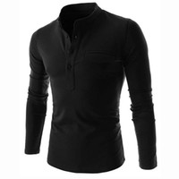 camisa henley hombres al por mayor-New Wine Red Polo Shirt Men Polo Homme Hot Sale Autumn Mens Fashion Long Sleeve Cotton Henley Shirt Brand Slim Fit Mens Polo Shirts
