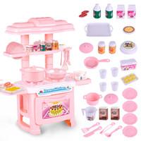 brinquedo do cozinheiro do bebê venda por atacado-Crianças Cozinha Conjunto Crianças Cozinha Brinquedos Grande Modelo de Simulação de Cozinha Brinquedo Educativo Jogo Colorido para a Menina Bebê novo