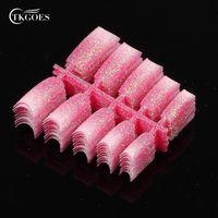 neue glitzer nagelspitzen entwirft großhandel-TKGOES 100pcS Atemberaubende Glitter Pink White Mix Design Französisch Falsch Nail Art Tipps NEU