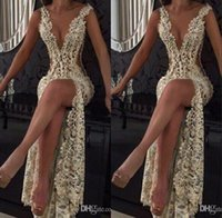 Wholesale white celebrity full length dress for sale - Group buy Full Lace Split Prom Evening Event Dresses Champagne Sexy Plunging V Neck Illusion Cutaway Sides Long Celebrity Gowns