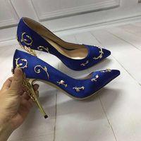 Wholesale white gold filigree - Ornate Filigree Leaf Women Pumps Fashion Chic Satin Stiletto Heels Exquisite Pointed Toe High Heel Bridal Shoes Women