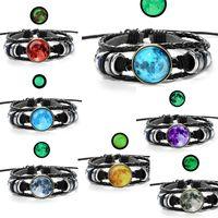 Wholesale woven pendant - fashion Luminous Star Series Bracelet Black Handmade time gemstone pendant Rope Weave Multilayer Leather Bracelet Glass Cabochon 320063