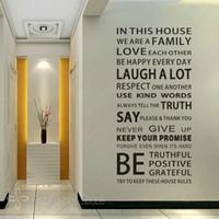ingrosso regole casa vinile-New 2018 Family House Regole Citazioni e proverbi Adesivi Adesivo rimovibile Art Vinyl Wall Sticker Home Decor Dimensioni 55 * 110 CM