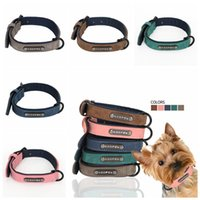 Wholesale dog collar wholesale leather for sale - 5 Colors PU Leather Pet Collars Dog Collar Soft Leather Dog Leash Dog Supplies pet Collars Neck Buckle AAA453