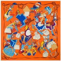 gran bufanda amarilla al por mayor-Horse Print Twill Mujeres Cuadrado Bufanda Amarilla Señoras Joker Dibujos Animados Grandes Poncho Foulard Femme Al Por Mayor