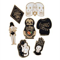 Wholesale children love dolls for sale - Enamel Skull Matryoshka Doll Totem Loner Club Love Woman Brooch Pins Suit Shirt Lapel Pin Badge for Women Children Gift DROP SHIP