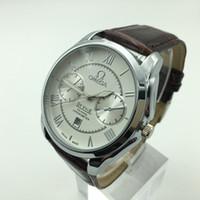 водонепроницаемые часы оптовых-Классический высококачественный роскошный мужской кожаный ремешок кварцевые часы оптом бизнес случайный календарь водонепроницаемые мужские платья часы