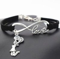 Wholesale cheer accessories wholesale - 10pcs Vintage Silver Love Infinity Cheerleader Cheer Charm Bracelet Bangle For Women Mixed Color Velvet Rope Bracelet Jewelry Accessories