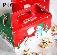 ingrosso carta da imballaggio di mele-20pcs / lot Large Size Buon Natale Packaging Candy Box Festa torta Dessert Paper Box Festival regalo Wrap Christmas Eve Apple