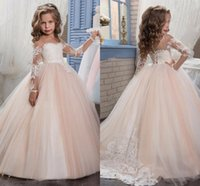 Wholesale ivory taffeta flower girl dresses - 2018 Arabic Blush Pink Flower Girls Dresses For Weddings Long Sleeves Lace Appliques Ball Gown Birthday Girl Communion Pageant Gown MC1535