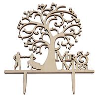 adorno de madera al por mayor-Herramientas para pastel Cartas de madera Cumpleaños Pastel de bodas Topper Tarjeta insertada Decoración Reutilizable y fácil de limpiar