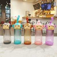 cartoons children Canada - 330ML Cute Monkey Plastic Water Bottle For Children Students Cartoon Portable Drinking Kettle 5 Colors Juice Bottle High Quality