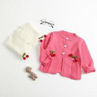 weiße mäntel für babys großhandel-Baby Mädchen Herbst Winter Schöne Kirsche Mantel Infant Süße Strickjacke Kleinkind Weiß Rot Qualität Kleidung