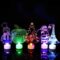 ingrosso lampada ad albero nuova-3D Night Light Colorful New Cute Christmas Tree Pupazzo di neve Babbo Natale LED Lampada Home Party Decoration 1 8sc C