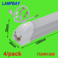 Wholesale 4 Pack LED Tube lights FT cm W T5 Bulb slim bar lamp Integrated fixture with accessory V V
