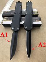 cuchillos plegables de primavera al por mayor-Cuchillo automático de la defensa de la manija del negro al por mayor al por mayor (2 clases de estilos) cuchillo ligero plegable táctico de la cuchilla del resorte robusto de la caña ligera