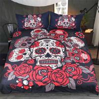 ingrosso skull bedding-Custom Made Digital Printing 3D Set biancheria da letto fiori Zucchero Skull Copripiumino con federa King Queen Size biancheria da letto
