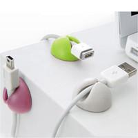 establecer teclado al por mayor-5 Unids Juego de Escritorio Sólido Wire Clip Organizer Accesorios de Oficina Suministros Bobina Bobinadora Wrap Cable Cable Manager para Líneas de Teclado USB