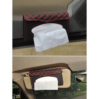 ingrosso scatola di carta scatola-Custodia in tessuto in pelle PU Visiera per il sole Copertura della scatola del tessuto per auto Appeso Dispenser di carta per tovaglioli Clip Auto Interno Boite Mouchoir