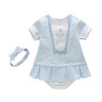 Wholesale kids anchor clothing - girl clothing Kids Dress set stripped anchor Design dress + short+ headband high quality cotton girl dress sets free shipping