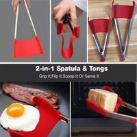 Wholesale hot tongs - Hot Sell 2-in-1 Clever Spatula Tong Kitchen Spatula Tongs Non-stick Heat Resistant Food Clip Grip Stainless Steel Accessories HH7-940