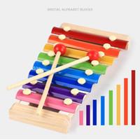 blocos de alfabetos venda por atacado-Mão de madeira bate o xilofone serinette oito piano as oito escalas em blocos de alfabeto de piano digital brinquedo do bebê das crianças presente de piano dhl 10