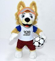 Wholesale world games - 2018 World Cup Russia Mascot Stuffed Soft Football Game Zabivaka Plush Toy Stuffed The Wolf Animals Football Match Gift Toy 25cm 35cm