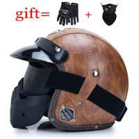 Latest Leather 3 4 Open Face Motorcycle Helmet Vintage Cruiser Chopper Scooter Retro Helmet Cafe Motorcycle