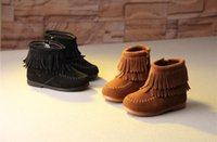 Wholesale Black Suede Fringe - Break the new autumn and winter children's shoes European and American style children's boots leather frosted double tassel girls boots