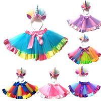 trajes de fantasia venda por atacado-Novo Miúdo Do Bebê Meninas Rainbow Tutu Saia Unicorn Headband 2 Pcs Foto Prop Traje Outfits Partido Shows Executar Saia 1-8 T