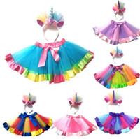 bebek fotoğraf siperi kıyafeti toptan satış-Yeni Çocuk Bebek Kız Gökkuşağı Tutu Etek Unicorn Kafa 2 Adet Fotoğraf Prop Kostüm Kıyafetler Parti Etek Göstermek 1-8 T