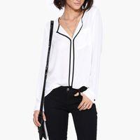 ingrosso camicette di lavoro nere-Camicetta da donna bianca da lavoro in camicetta con maniche lunghe a maniche lunghe con scollo a V e maniche lunghe da donna