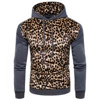 Wholesale Men England Coat - Men's Leopard Hooded Hoodie Patchwork Printed Warm Fleece Long Sleeves Coat England Style Casual Hoodies Men's Hoodie