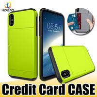 carte coulissante achat en gros de-Étui de carte de crédit SGP Slide pour iPhone X 8 8Plus ID Carte Wallet Slot Back Cover Anti-Shock Protector Shell pour Samsung S9 S9Plus