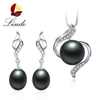 Wholesale 925 Silver Earrings Top Quality Natural Freshwater Pearl Pendant Necklace Wedding Jewelry Sets with Gift Box