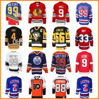 Wholesale howe jersey - 99 Wayne Gretzky 66 Mario Lemieux 9 Bobby Hull Hockey Jersey 9 Gordie Howe 4 Bobby Orr 33 Patrick Roy 88 Eric Lindros Leetch Messier Jerseys