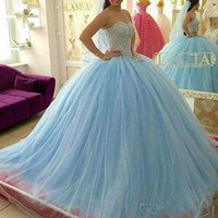 Wholesale masquerade dresses for prom - Sparkle Crystal Beaded Quinceanera Dresses for Sweet 16 Girls Sweetheart Lace Up 2018 Masquerade Ball Gowns Prom Dress