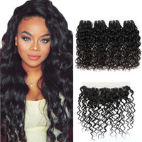 Wholesale 18 inch wavy lace for sale - Group buy A Brazilian Water Wave With Lace Frontal Peruvian Wet and Wavy Hair Bundles With Frontal Malaysian Natrual Wave Hair