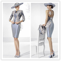 veste en taffetas gris achat en gros de-2018 New Grey Taffeta Robes Mère de Mariée Manches 3/4 Robes de Mariée avec Veste Short Femme Robes de Soirée Formelle