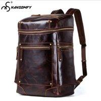 Nesitu High-end Large Capacity Brown Grey-blue Vintage Genuine Leather 14 15.6 Laptop Men Backpacks Male Travel Bags M9031 Luggage & Bags