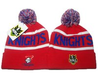 Wholesale cheap halloween hats online - 2019 New Arrival Men s Sport National Rugby League Knitted Beanies Fashion Beanie Caps Cheap NRL Pom Pom Newcastle Knight Cuff Skullies Hats