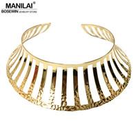 colar gargantilha aberta venda por atacado-gargantilha moda MANILAI oco Design Abra metal geométrica Choker Para Mulheres Moda Declaração de jóias colar colares Punk Binários