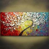 cuchillo de paleta moderno al por mayor-1 Paneles Colorido Árbol de Flores Pintado A Mano Pintura Al Óleo Sobre Lienzo Moderno Cuadro Paleta Cuchillo Pintura Para la Sala Sin Marco