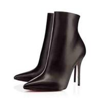 2dde1ddeea713b 2018 Marque De Luxe Rouge Bas Dame Chaussures Bottes En Daim Noir En Cuir  En Cuir Éloise Booty Femmes Cheville Botte Femme Talons Bottes 35-42