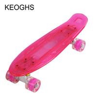Wholesale banana fish - fish long Single warp board Teenagers adult children Banana skateboard PU 4wheels Flashing transparent Bodybuilding